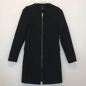 H&M Black Long Zip Up Pea Coat [CW]